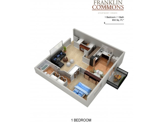 Floor Plan 6 | Bensalem Pa Apartments | Franklin Commons