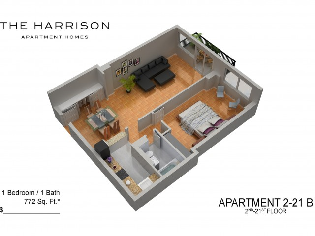 3D Floor Plan 6 | Somerset Apartments | The Harrison
