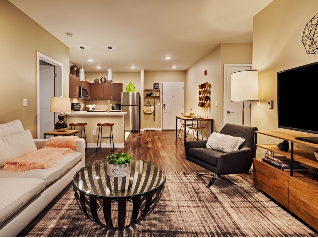 Cosmopolitan Apartments North Hills Spacious Living Room in Pittsburgh