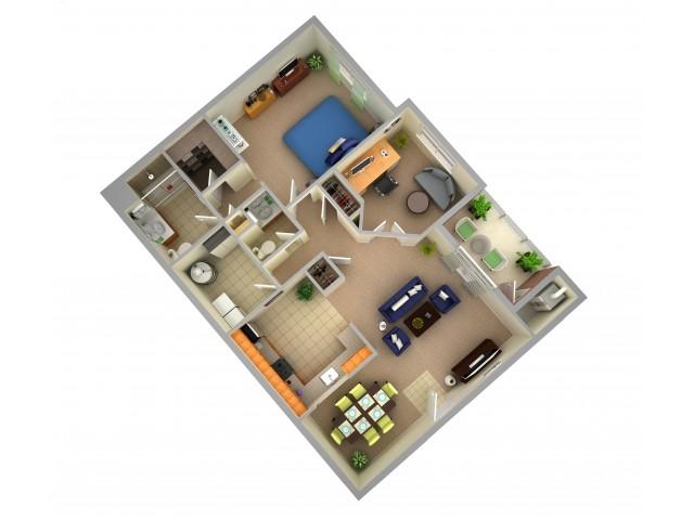 One Bedroom One Bathroom Apartment - Interior