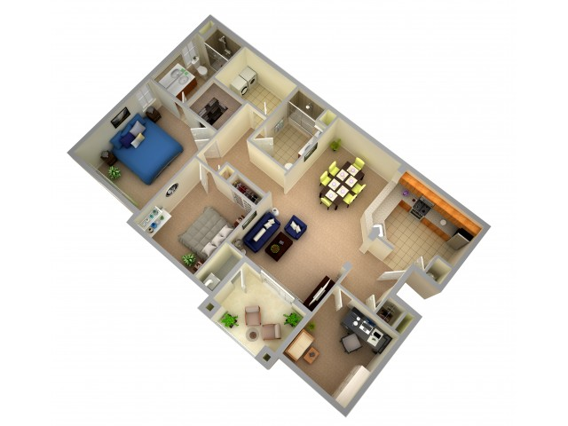 Two Bedroom Two Bath Apartment - End