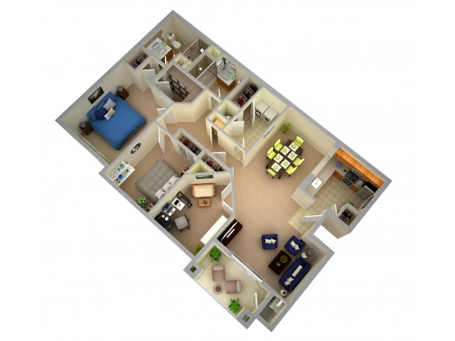 Two Bedroom Two Bath Apartment  - Interior