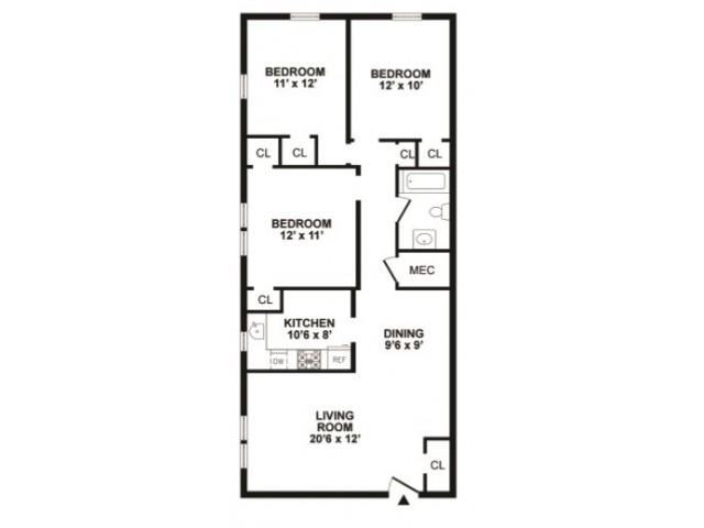 3 bedrooms 1 bathroom