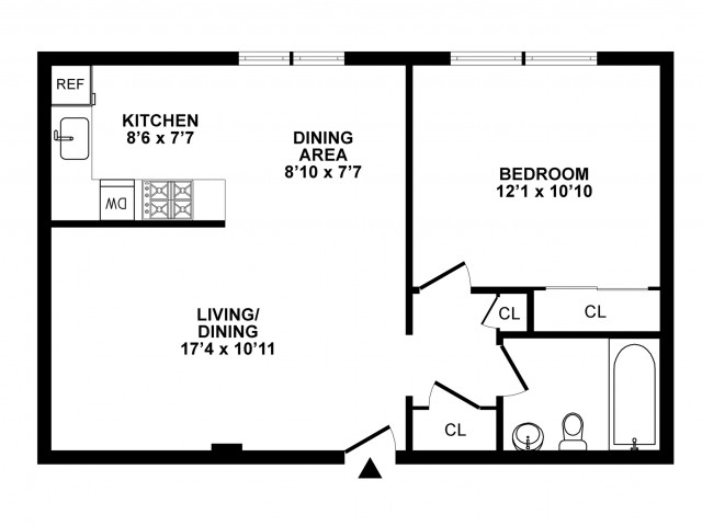 Typical One Bedroom One Bath A2 Model