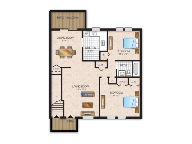 two bedroom, one bathroom with washer/dryer