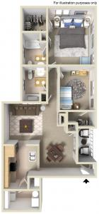 2 Bdrm Floor Plan | Apartments For Rent In Manayunk PA | The Glen at Shamont Station