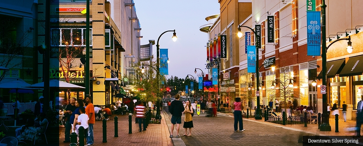 Streets of downtown Silver Spring in Maryland nearby The Flats at Columbia Pike apartments