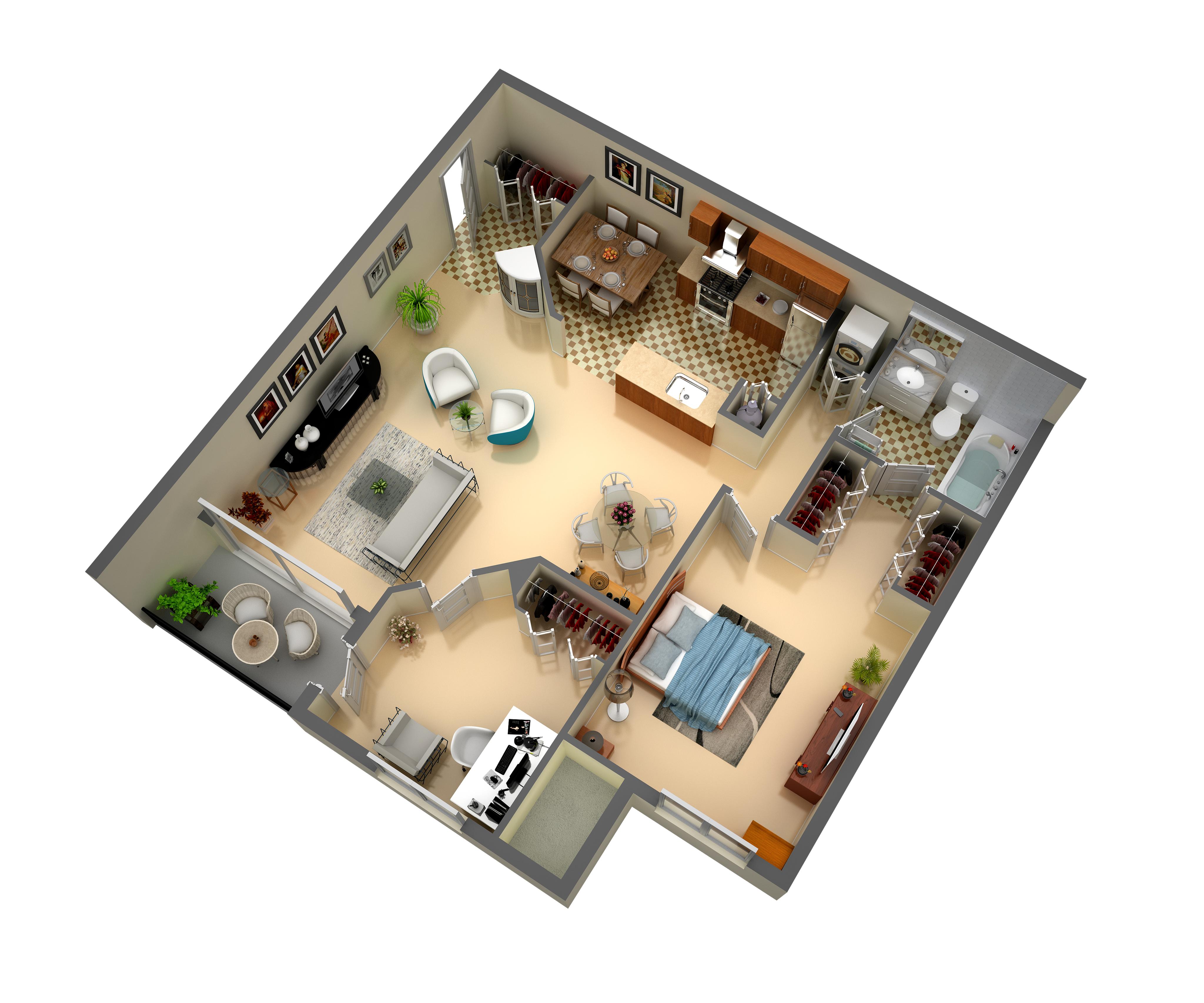 3d floor plan 1 bedroom 1 bathroom