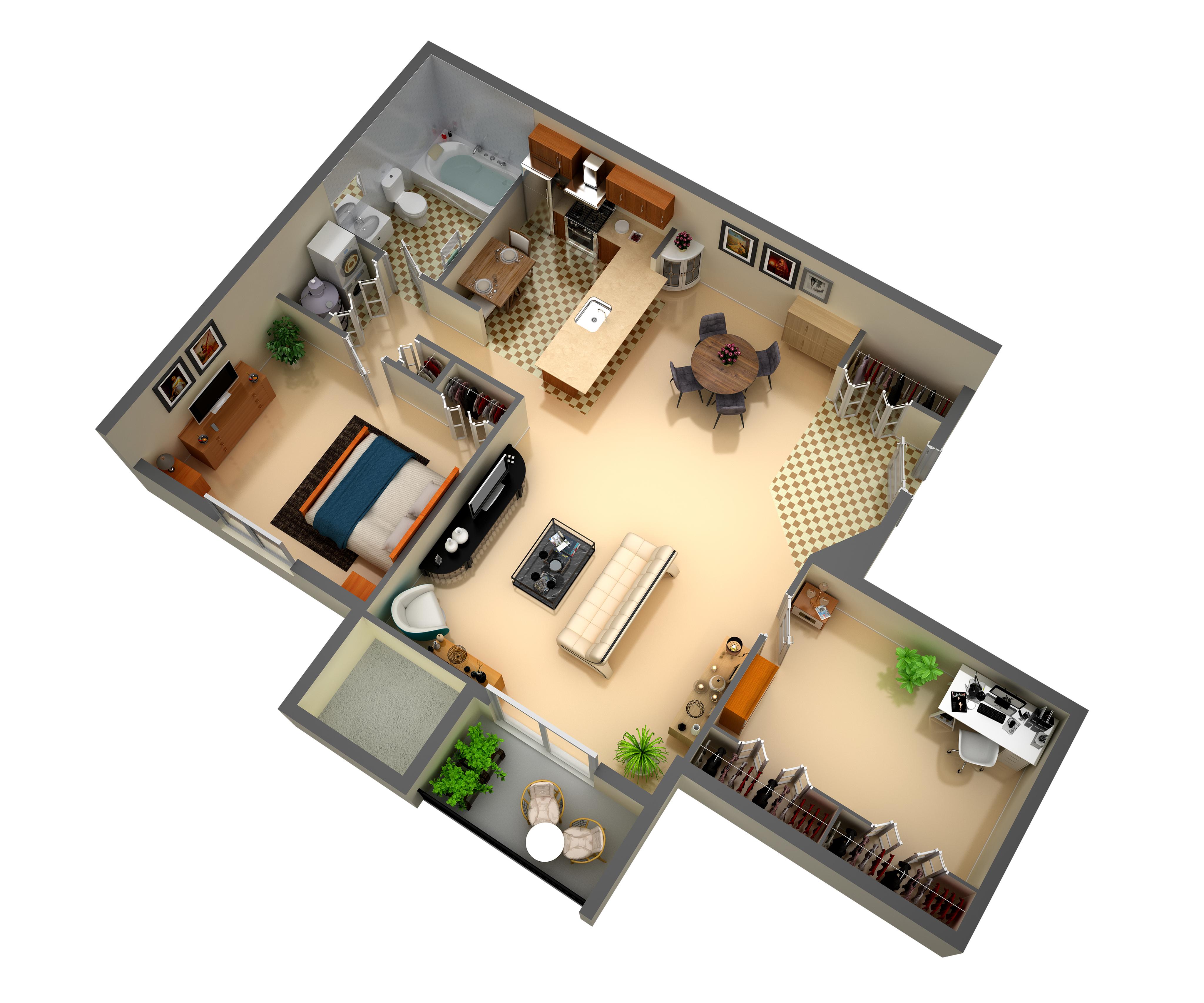 Floor plan 1 bedroom 1 bath with den