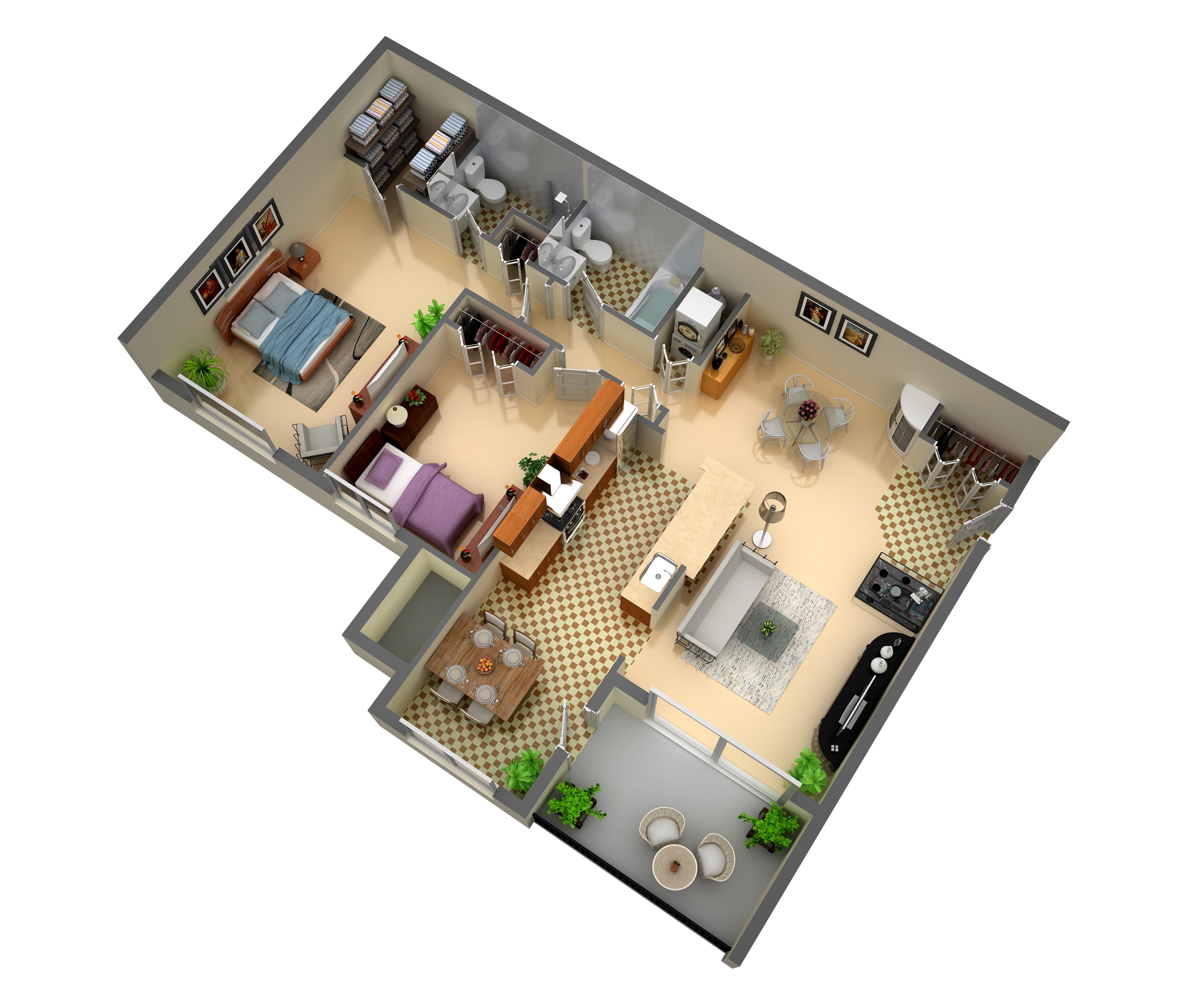 2 Bedroom 2 Bathrooms with breakfast bar