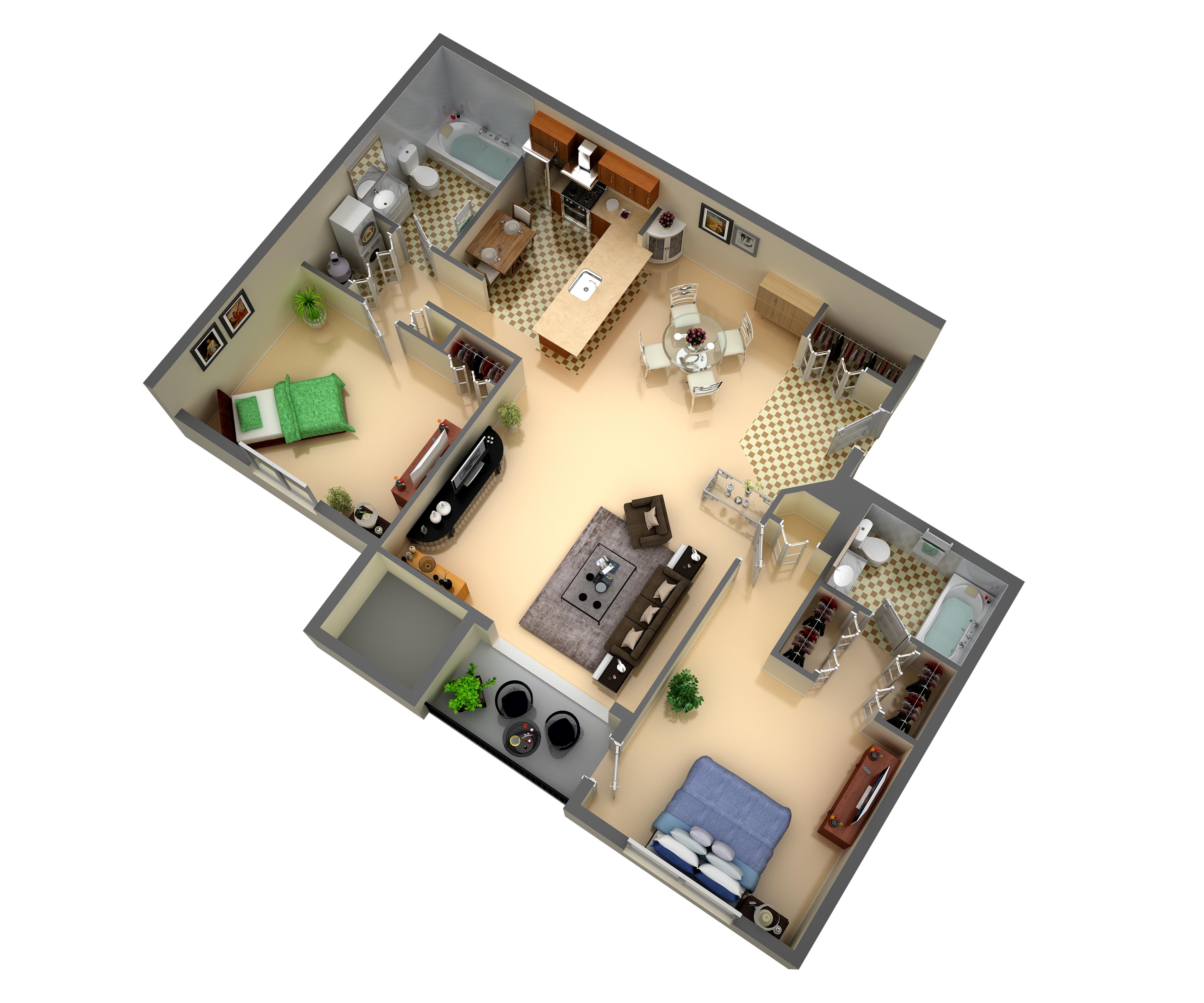 2 Bedroom 2 Bathroom Suite