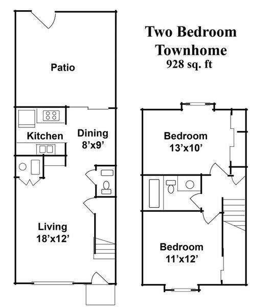 2 Bedroom 1.5 Baths