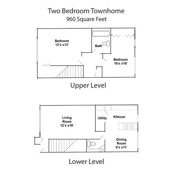 2 Bedroom 1 Bath Townhome
