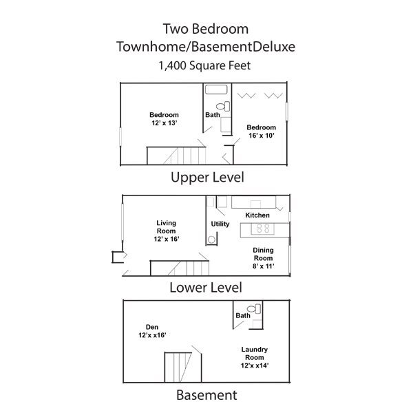 2 Bedroom 2 Bath Townhome