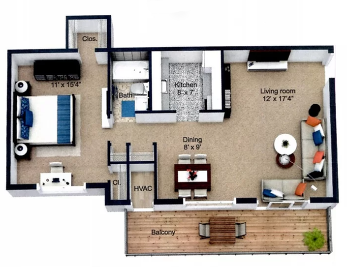 1 Bedroom 1 Bath with Fireplace