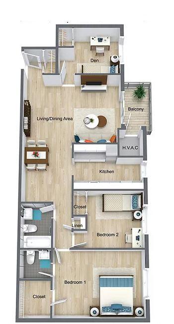 2 Bedrooms 1.5 Baths with Den