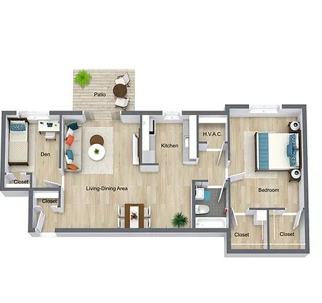 1 Bedroom 1 Bath with Den & Fireplace