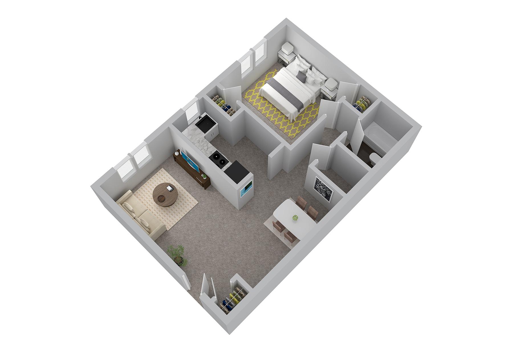 A1R2 1 Bedroom 1 Bathroom