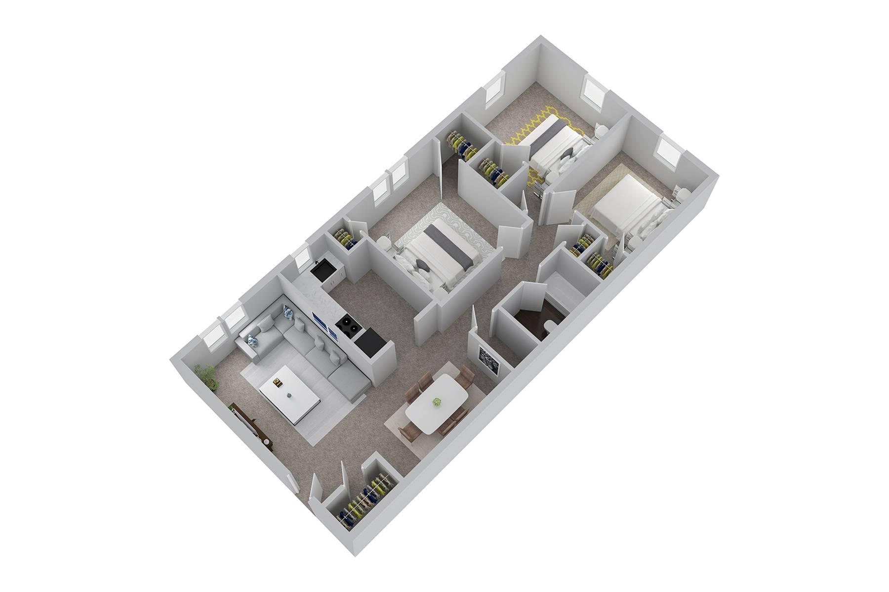3 Bedroom Floor Plan | Newark DE Apartments | Hunters Crossing
