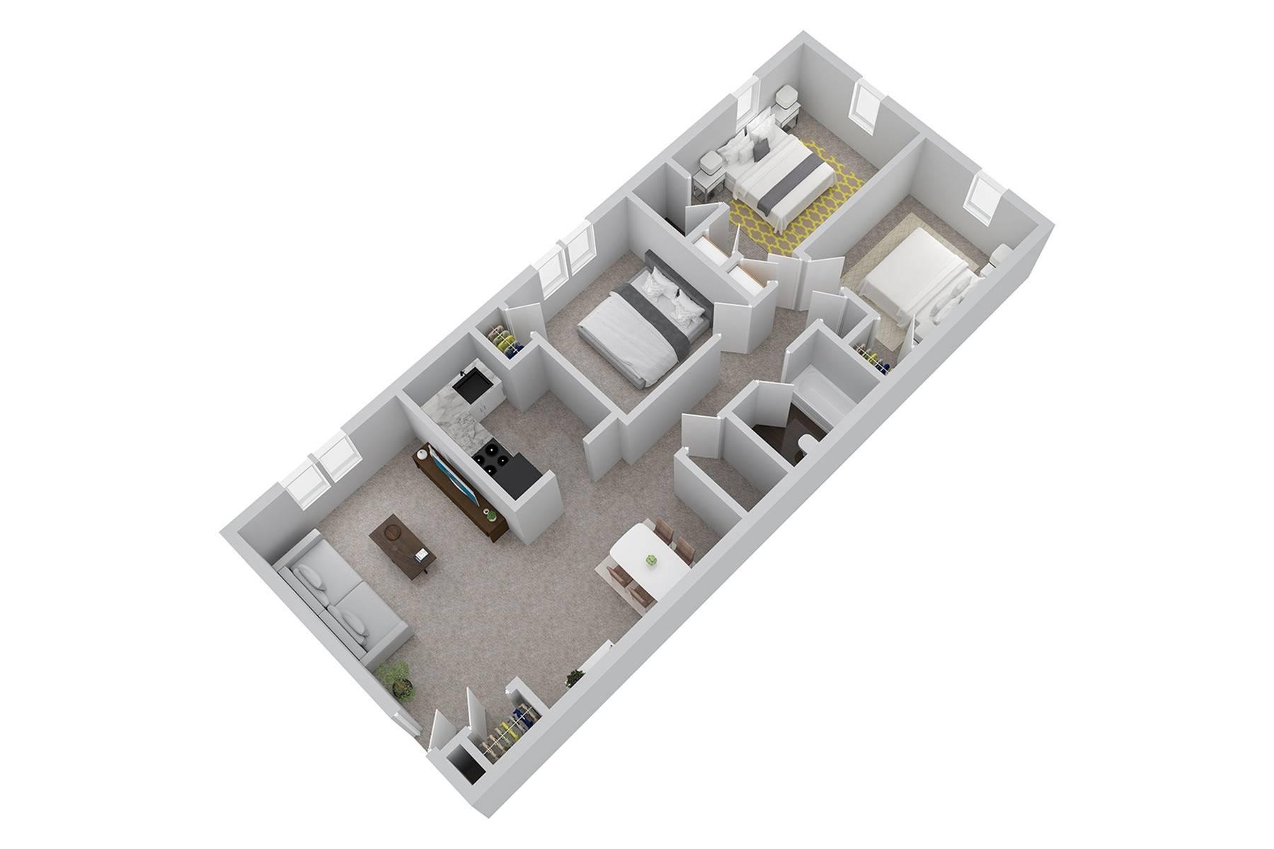 3 Bdrm Floor Plan | Luxury Newark Apartments | Hunters Crossing