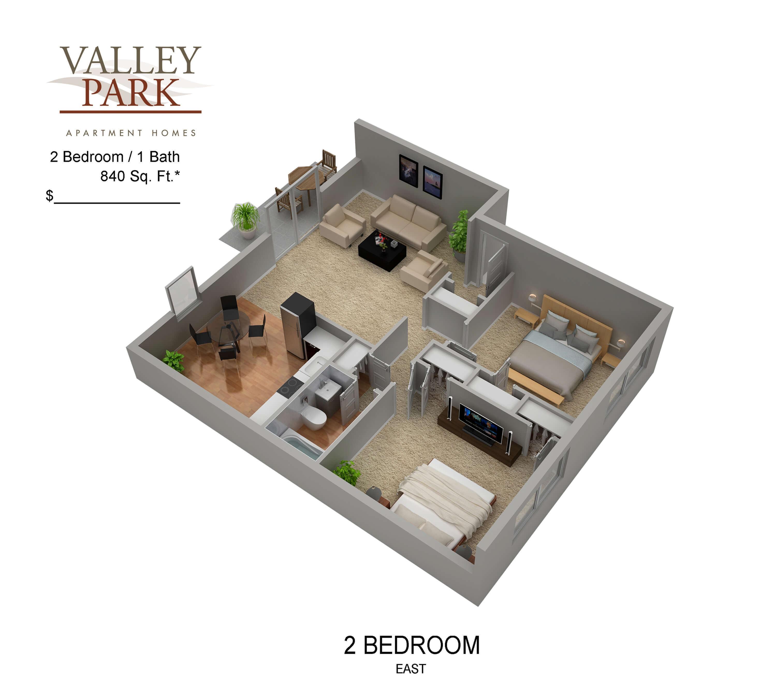 2 Bedroom 1 Bath