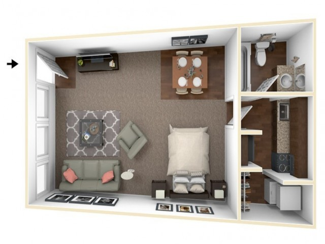 Studio Floor Plan | Apartments For Rent Indianapolis | Fountain Lake Villas