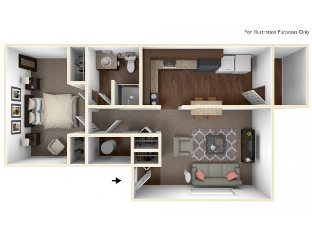 1 Bedroom Floor Plan | Apartments In Indianapolis | Fountain Lake Villas