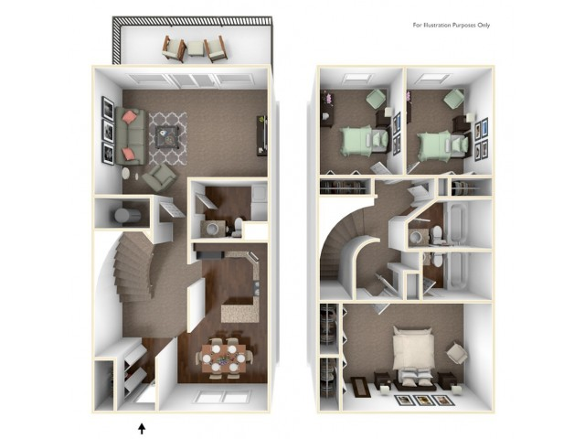 3 Bedroom Floor Plan | Indianapolis Apartments | Fountain Lake Villas