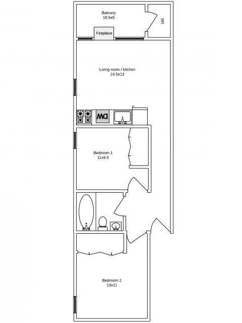 2 bedroom apartment w/ balcony