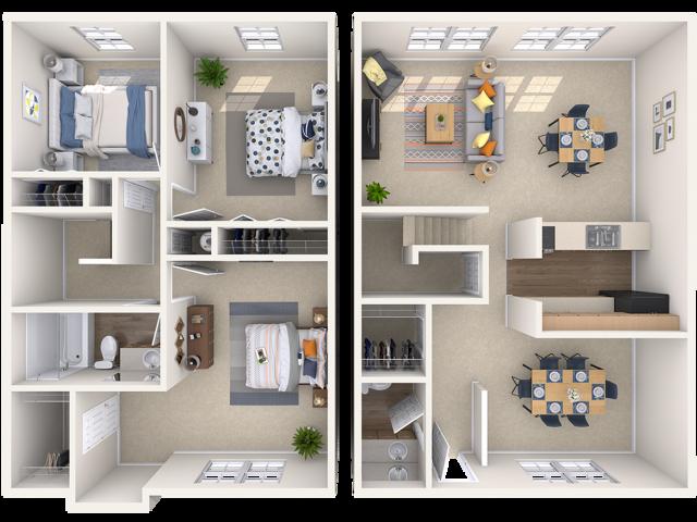3 bedroom, 1.5 bathroom townhome