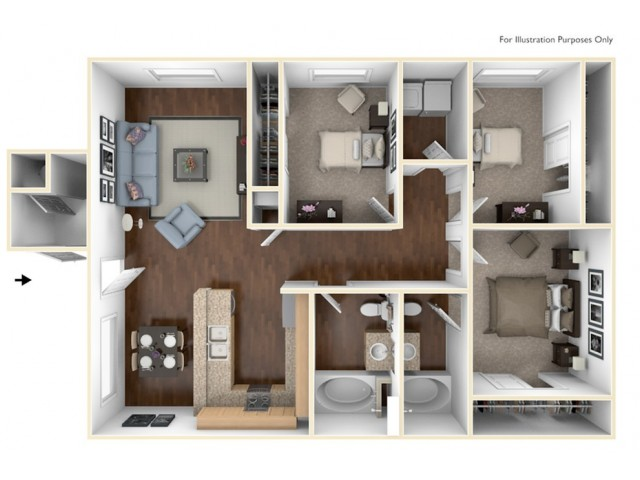 3 bedroom, 2 bathroom apartment home.