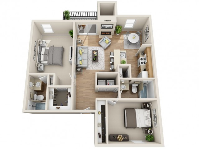 2 bedroom, 2 bathroom apartment home