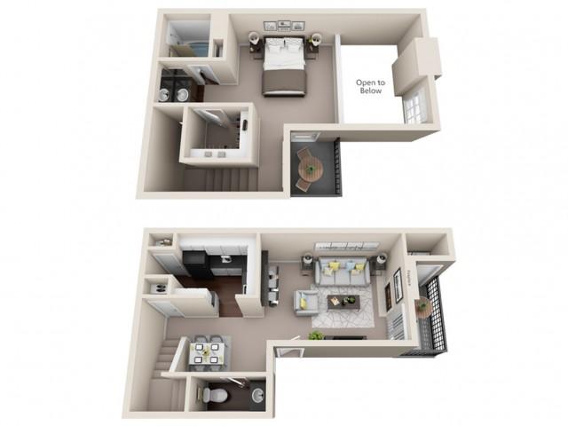 1 bedroom, 1.5 bathroom townhome