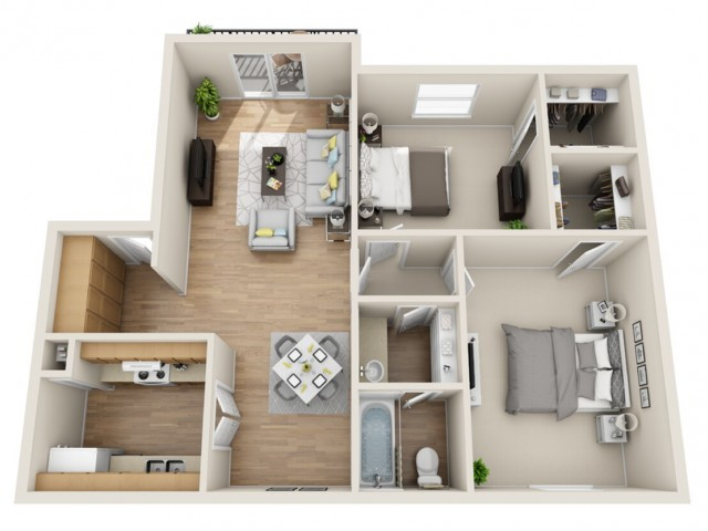 2 bedroom, 1 bathroom apartment home