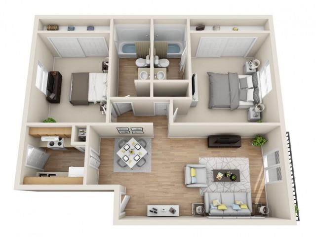 2 bedroom, 2 bathroom apartment home