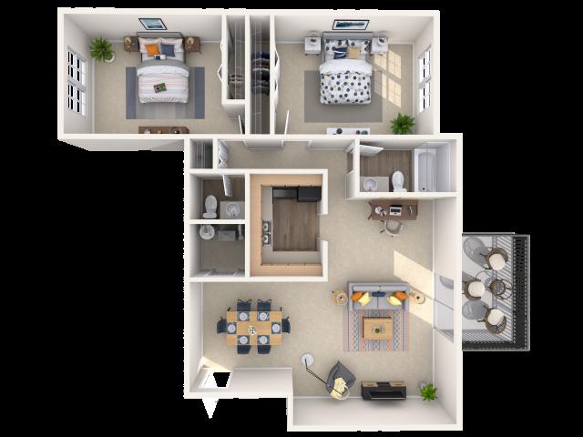 2 bedroom, 1.5 bathroom apartment home