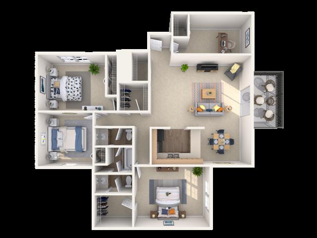 3 bedroom, 1.5 bathroom apartment home
