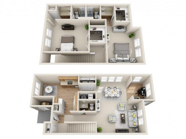 2 bedroom, 2.5 bathroom townhome