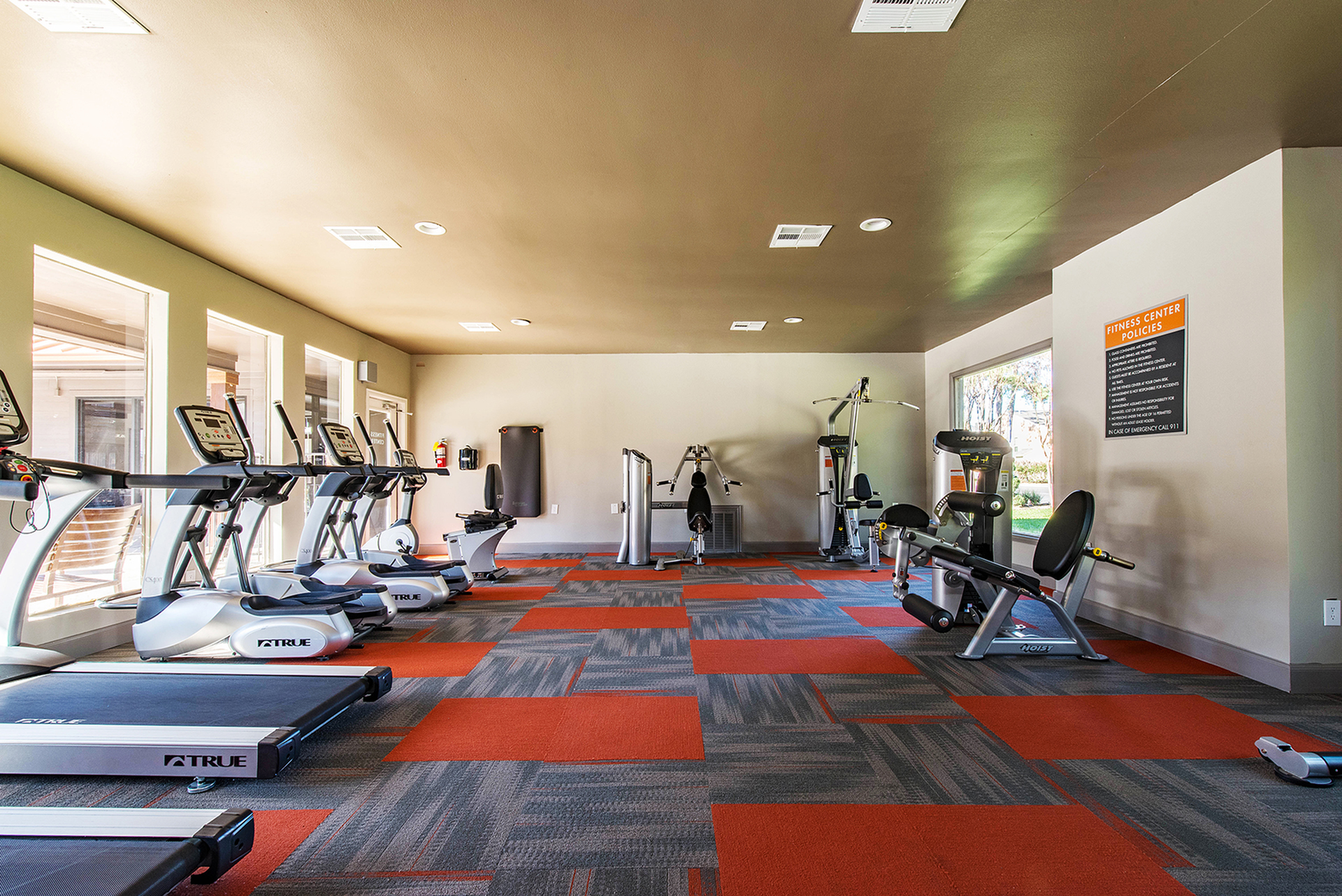 Houston TX Apartments for Rent-Copper Lodge Fitness Center with Free Weights and Cardio Machines