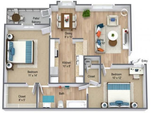 Two Bedroom/ One Bath 815 sq feet