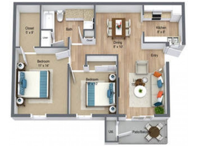 Two Bedroom/ One Bath 850 sq feet