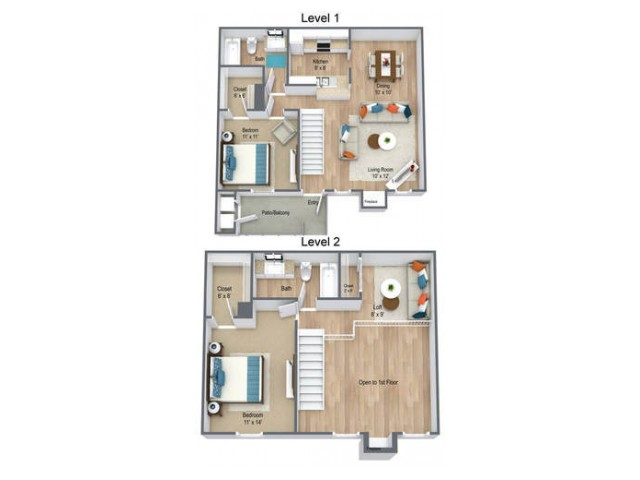 2 Bedroom/ Two Bath Townhome 1160 sq feet