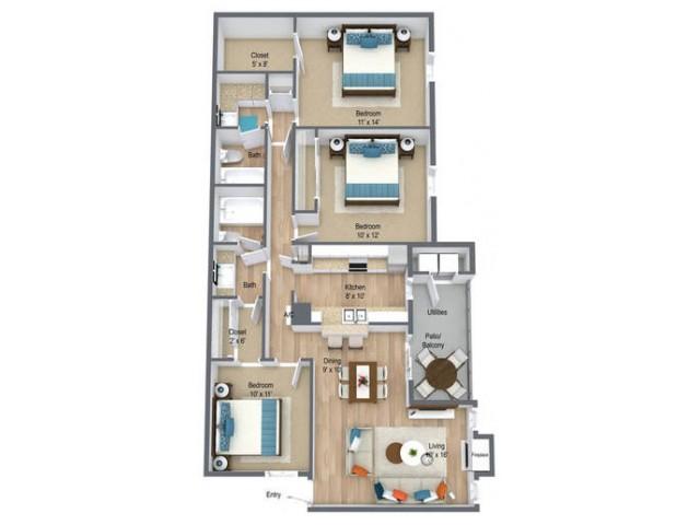 Three Bedroom/ Two Baths 1200 sq feet