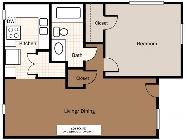 One Bedroom 629 SqFt