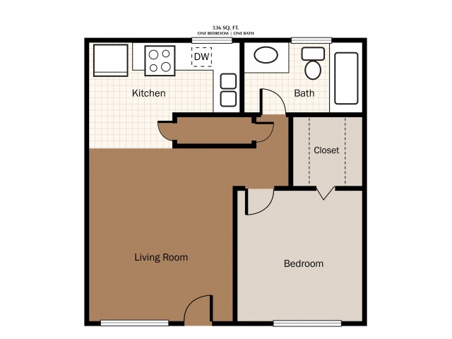 One Bedroom 536 SqFt