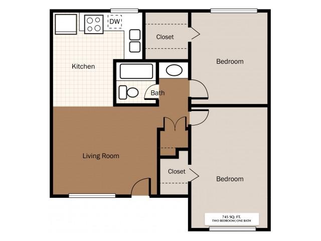 Two Bedroom 745 SqFt