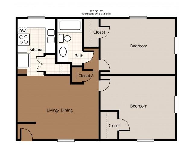 Two Bedroom 822 SqFt