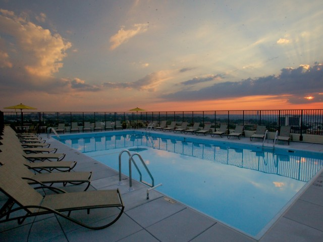 Image of Rooftop Pool and deck with spectacular view of DC skyline for 2200 Columbia Pike