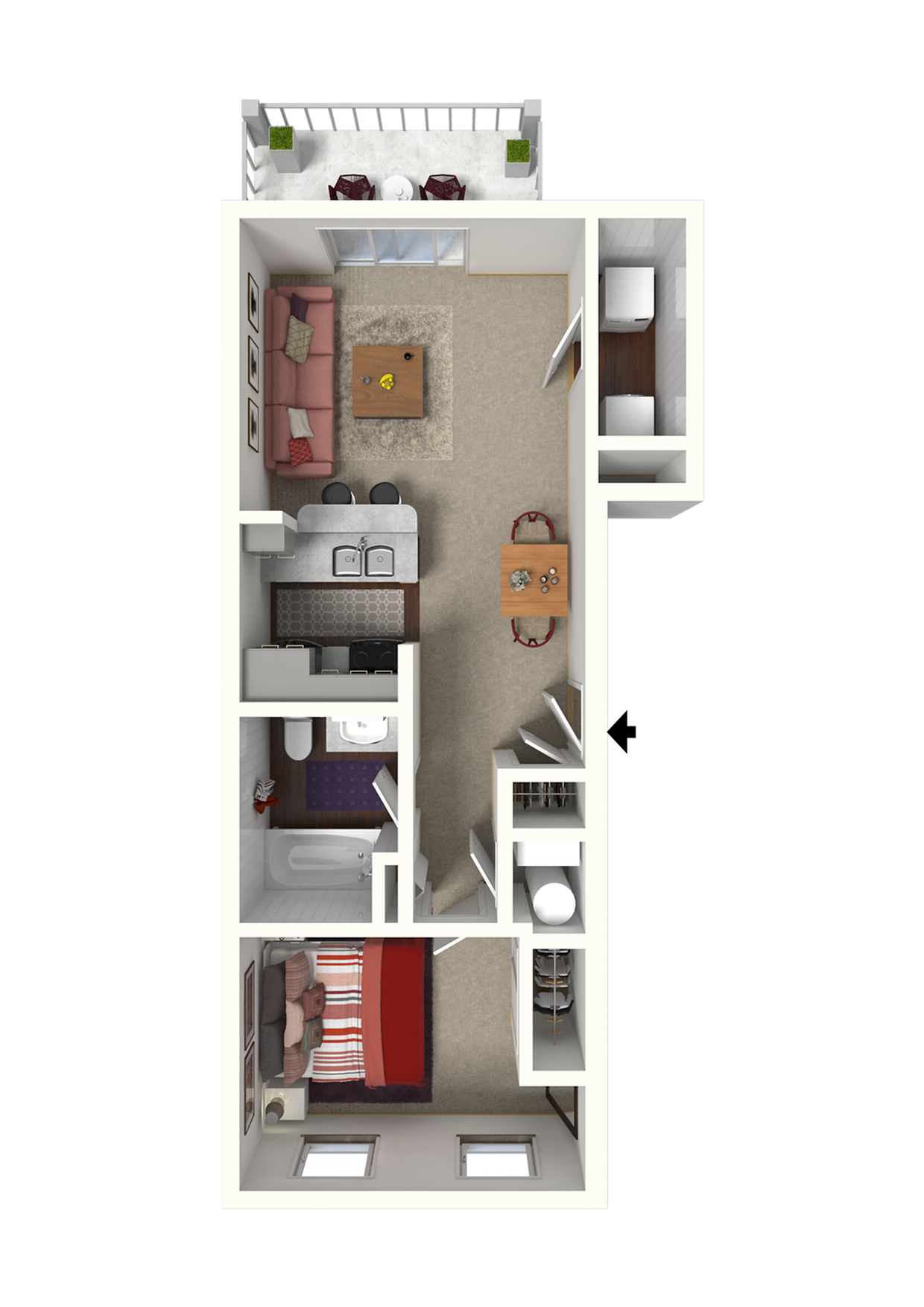 Sacramento Floor Plan - 1x1 650 Sqft.