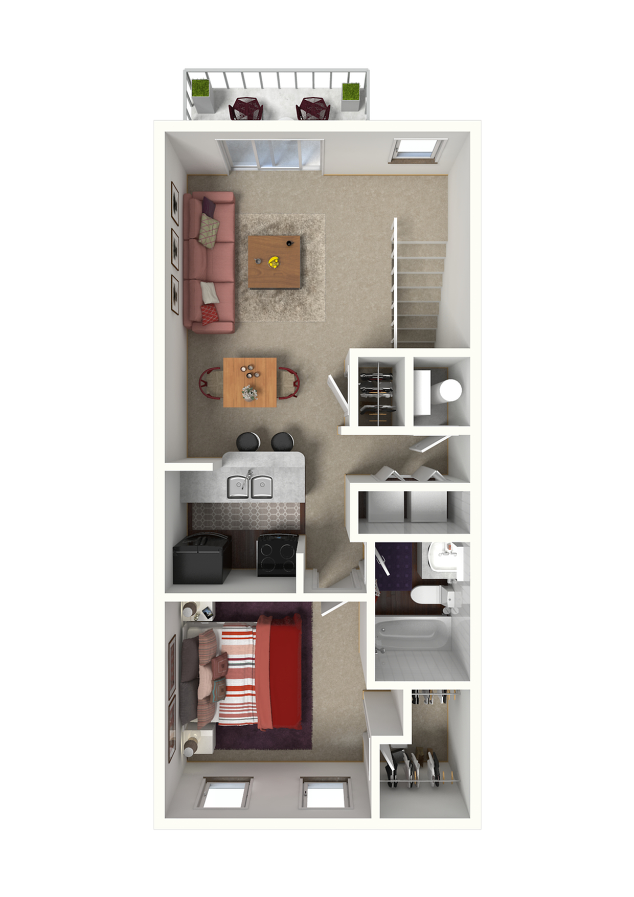 San Diego Floor Plan - 1x1 720 SqFt.